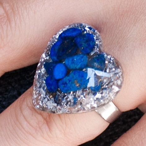 Orgonite, crystal, energy jewelry, ring, lapis lazuli orgone ring