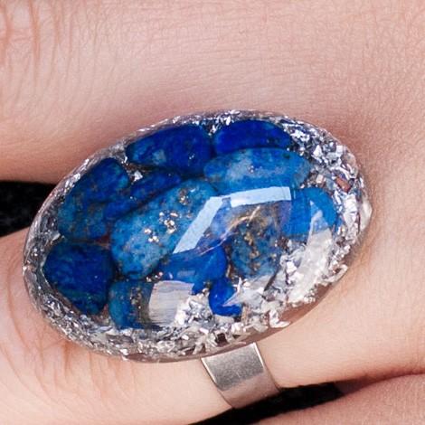 Orgonite, crystal, energy jewelry, ring, lapis lazuli orgone ring