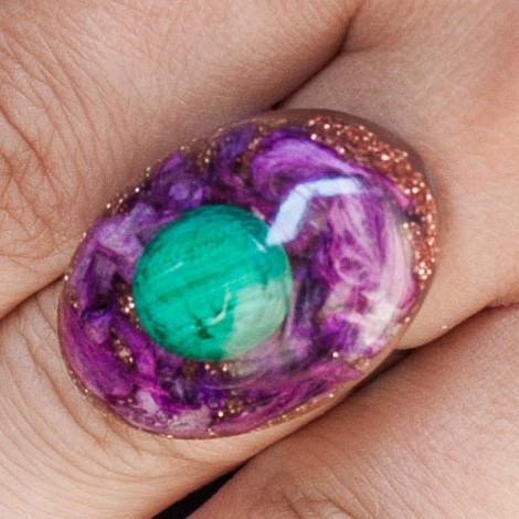 strengthens the immune system, Orgonite, crystal, energy jewelry, ring, malachite orgone ring,