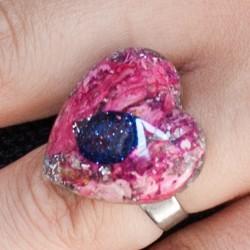 Orgonite, crystal, energy jewelry, ring, blue sunstone orgone ring