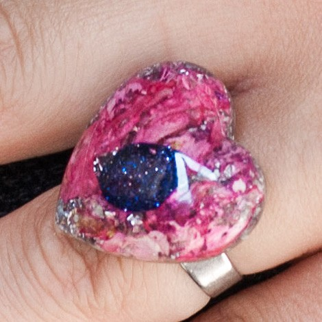 Orgonite, crystal, energy jewelry, ring, blue sunstone orgone ring