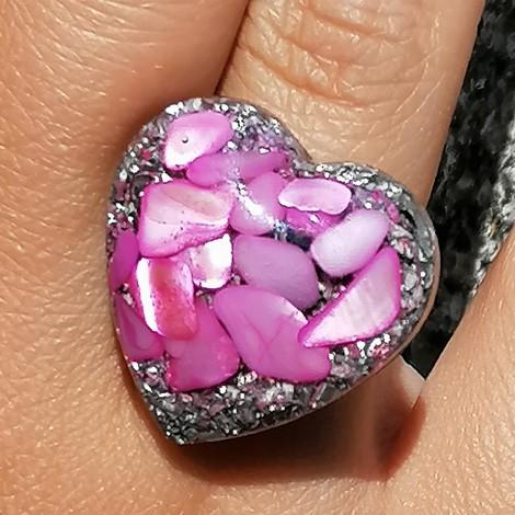 Orgonit, kristal, enegijski nakit, roza školjke orgonski prstan