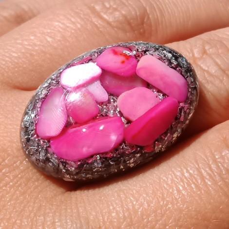 Orgonite, crystal, energy jewelry, ring, rose shells orgone ring