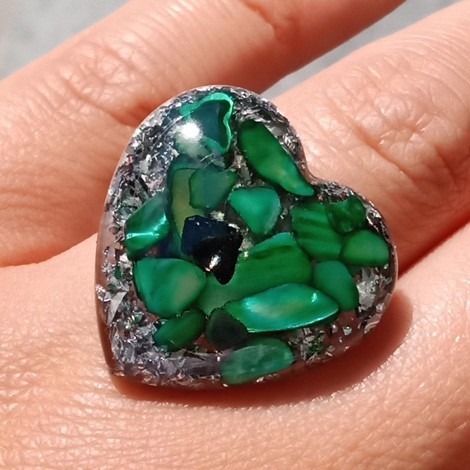 Orgonite, crystal, energy jewelry, ring, green shells orgone ring