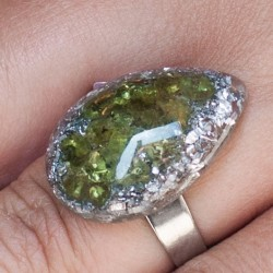 Orgonite, crystal, energy jewelry, ring, peridote orgone ring