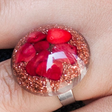 Orgonite, energy jewelry, ring, red coral orgone ring