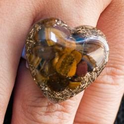 Orgonite, crystal, energy jewelry, ring, tiger eye orgone ring