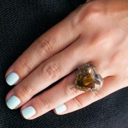 Orgonit,  energijski nakit, tigrovo oko orgonski prstan kristal,